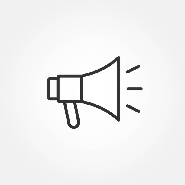 Megaphone - promotion line web icon in flat style. Outline design with editable stroke. Loudspeaker sign. Vector illustration. Megaphone - promotion line web icon in flat style alertness stock illustrations