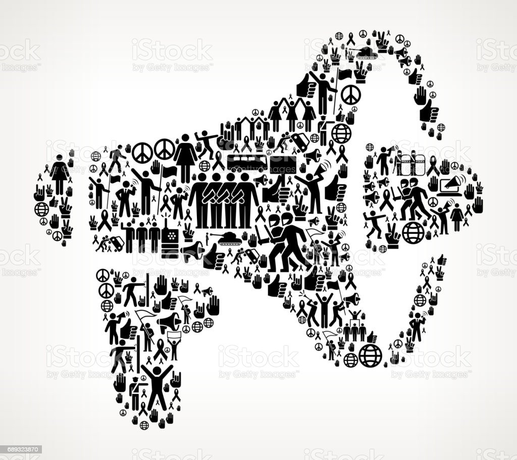 Megaphone  Protest and Civil Rights Vector Icon Background Megaphone  Protest and Civil Rights Vector Icon Background. This protest and civil rights illustration is created with numerous black social equality icons that form a seamless vector pattern. All the icons are relevant to the civil rights, protest and demonstrations. They form the main object of the composition on a background with a slight gradient. The icons vary in size and are detailed and can be used separately from the main illustration. They include such classic freedom symbols as the protest, flag, demonstration and many more. Adult stock vector