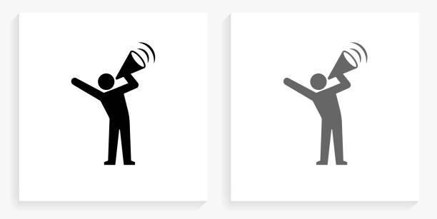 Megaphone Protest Black and White Square Icon vector art illustration