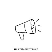 istock Megaphone Single Line Icon with Editable Stroke and Pixel Perfect. 1214044892