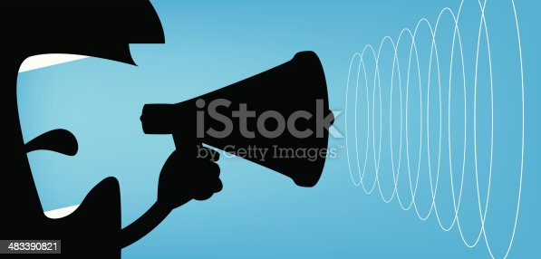 Man making soundwaves with a megaphone.