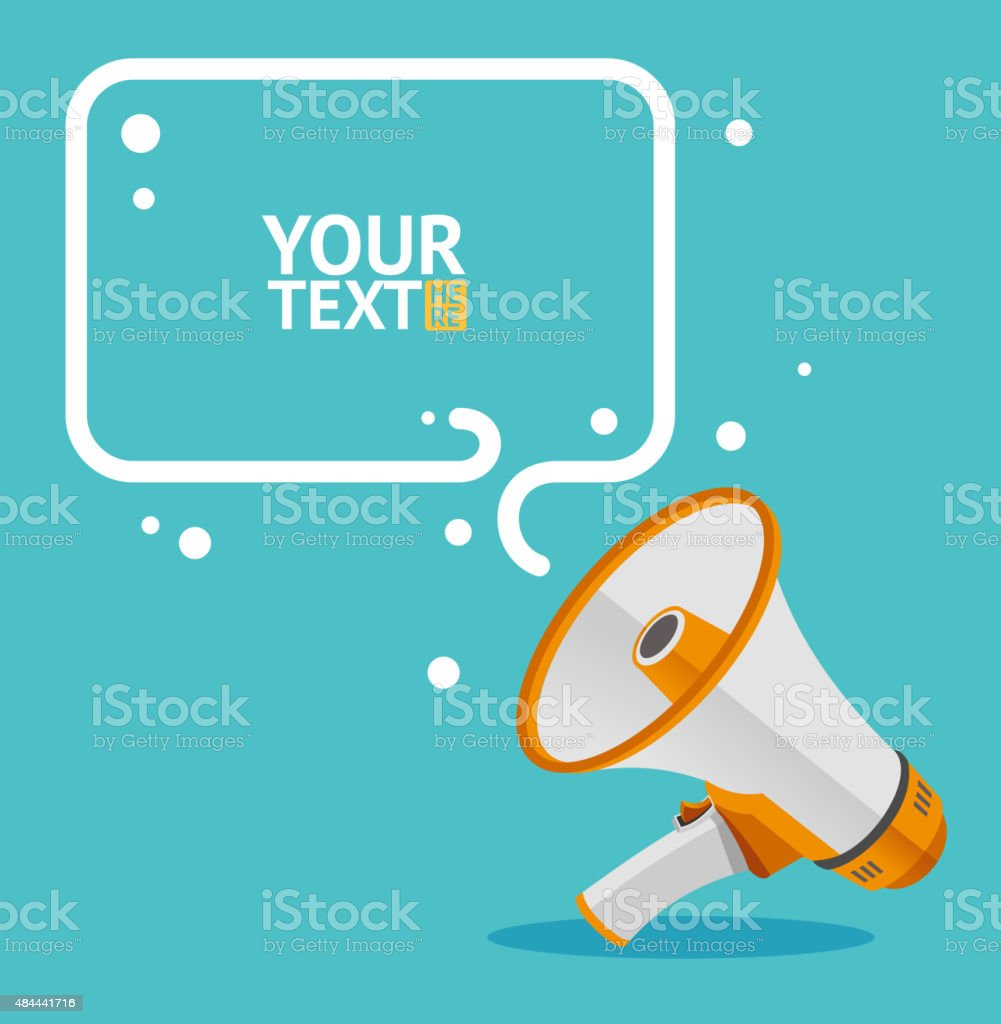 Megaphone text bubble card. Vector vector art illustration