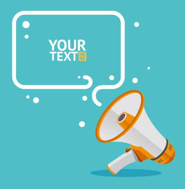 Megaphone text bubble card. Vector Megaphone text bubble card with place for your text. Flat.  Vector illustration announcement message stock illustrations