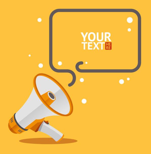 Megaphone text bubble card. Vector Megaphone text bubble card. Flat Design. Vector illustration announcement message stock illustrations