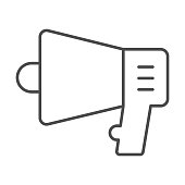 Megaphone thin line icon, Black Friday concept, speaker sign on white background, loudspeaker icon in outline style for mobile concept and web design. Vector graphics