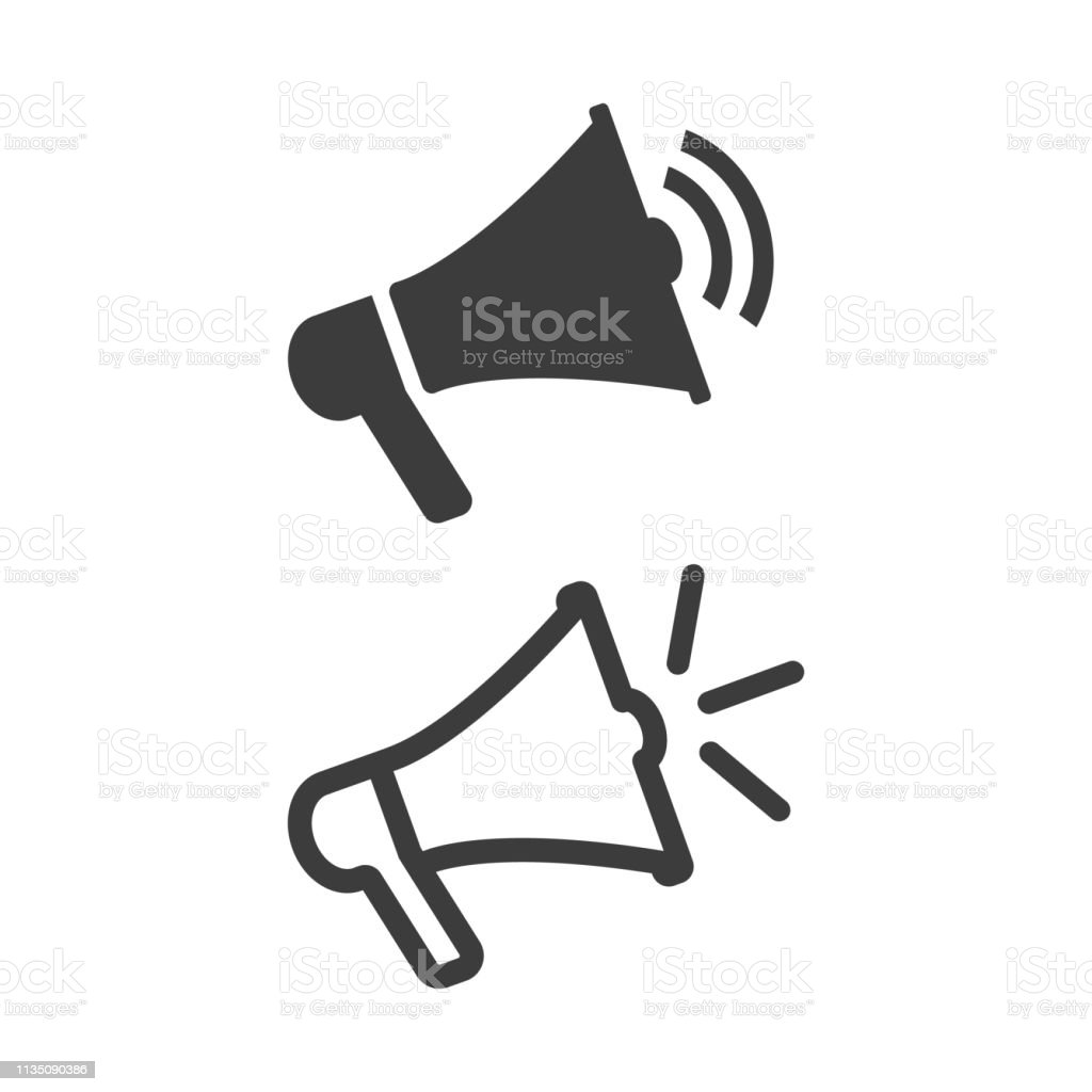 Megaphone vector flat icon on white background. royalty-free megaphone vector flat icon on white background stock illustration - download image now