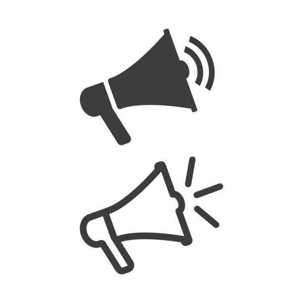 мегафон вектор плоский значок на белом фоне. - сообщение stock illustrations