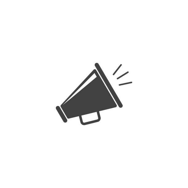 megafon vektor-symbol - megaphone stock-grafiken, -clipart, -cartoons und -symbole