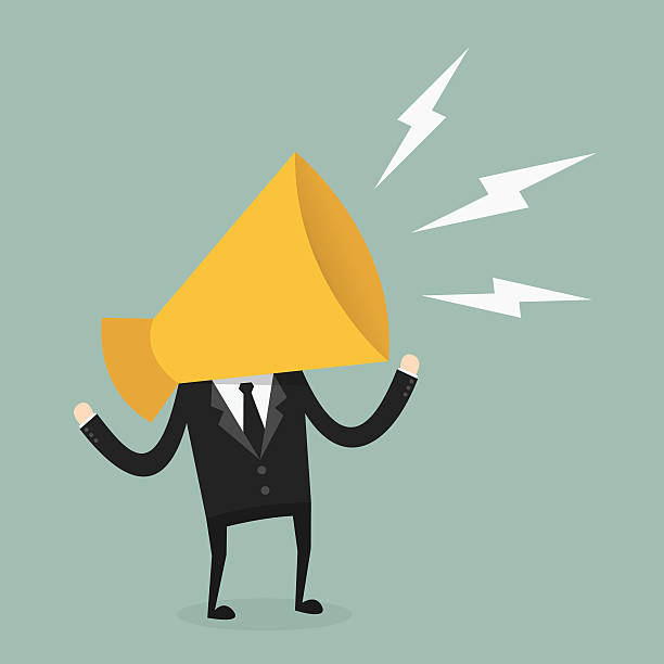megaphone Business with megaphone head showing off stock illustrations