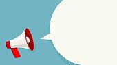 istock Megaphone white bubble for social media marketing concept. Vector announce for marketing 1039671240