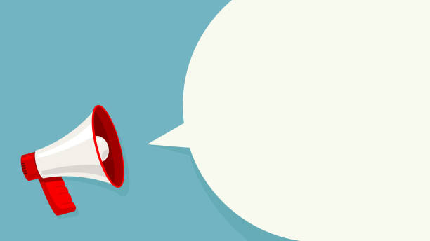 bildbanksillustrationer, clip art samt tecknat material och ikoner med megaphone vit bubbla för sociala medier marknadsföring koncept. vector tillkännage för marknadsföring - speaker