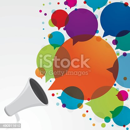 Megaphone with big colourful speech bubbles. Eps10. Contains transparent objects.