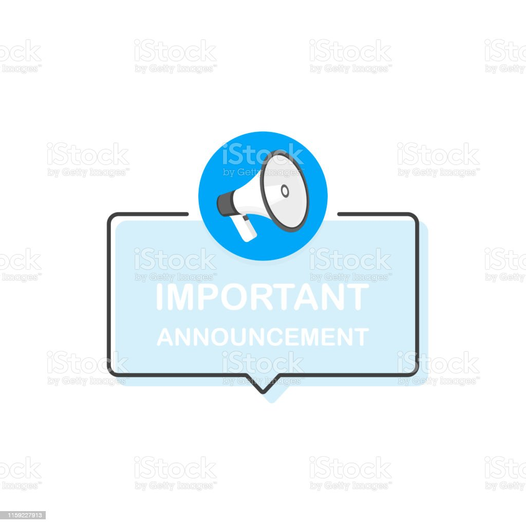 Megaphone with Important Announcement speech bubble. Loudspeaker. Banner for business. Flat cartoon style. Modern vector illustration - Grafika wektorowa royalty-free (Alarm)