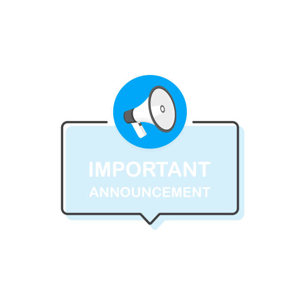 megaphone with important announcement speech bubble. loudspeaker. banner for business. flat cartoon style. modern vector illustration - rich stock illustrations