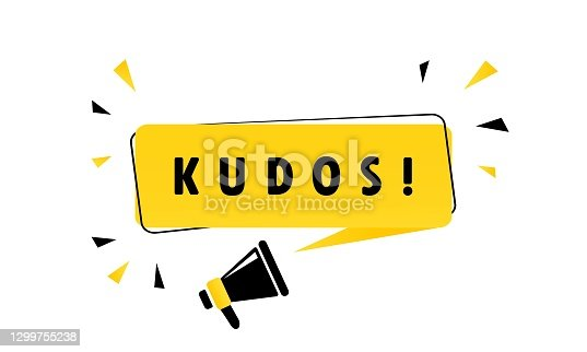 istock Megaphone with Kudos speech bubble banner. Loudspeaker. Can be used for business, marketing and advertising. Vector EPS 10. Isolated on white background 1299755238