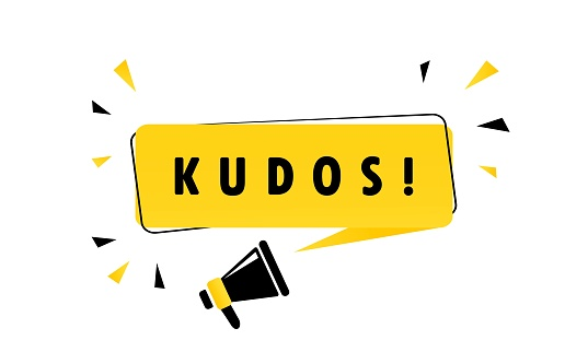Megaphone with Kudos speech bubble banner. Loudspeaker. Can be used for business, marketing and advertising. Vector EPS 10. Isolated on white background