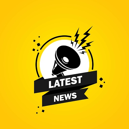 Megaphone with Latest news speech bubble banner. Loudspeaker. Label for business, marketing and advertising. Vector on isolated background. EPS 10.
