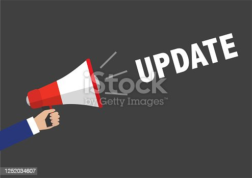 istock Megaphone with UPDATE message 1252034607