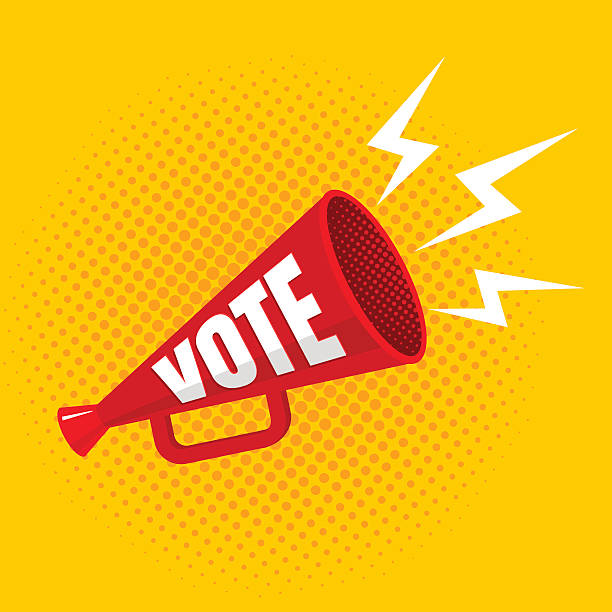 megaphone with vote Vector vintage poster with megaphone with vote voting stock illustrations