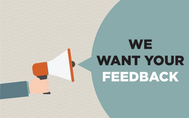 ilustraciones, imágenes clip art, dibujos animados e iconos de stock de megáfono con el desea el texto de retroalimentación - survey