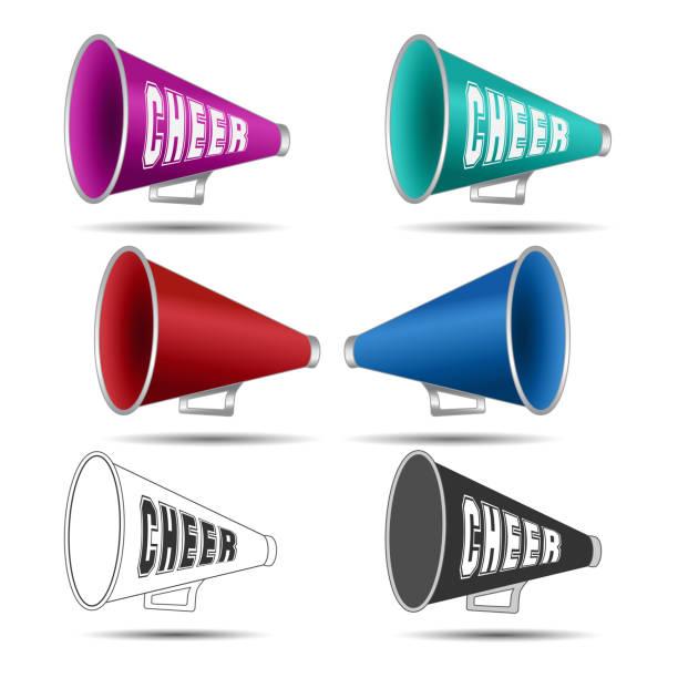 stockillustraties, clipart, cartoons en iconen met megafoon-cheer gebruikt door cheerleaders - pompon