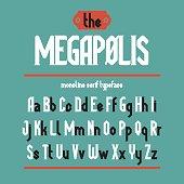 Megapolis Black - monoline serif font. Minimalistic typeface. Alphabet full character set, numerals & punctuations.