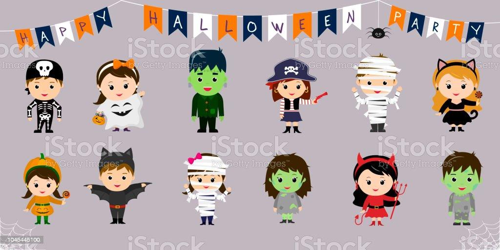 Ilustración De Megaconjunto De Símbolos De Halloween Doce Niños