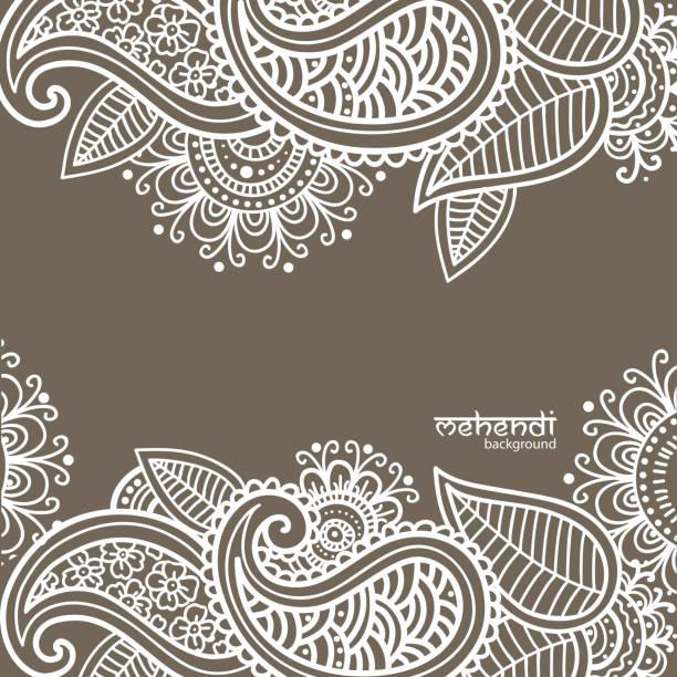 stockillustraties, clipart, cartoons en iconen met mehendi abstract background - hennatatoeage