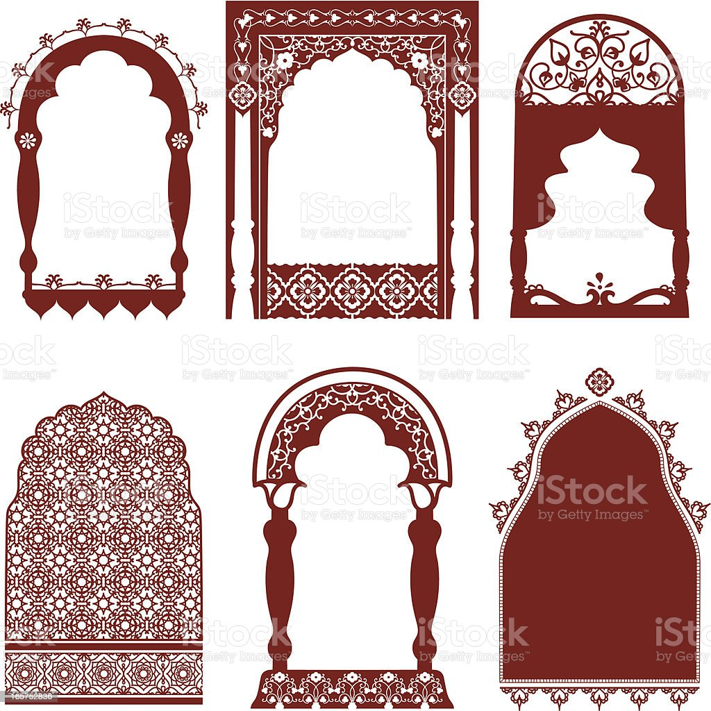 Mehndi Arched Windows vector art illustration