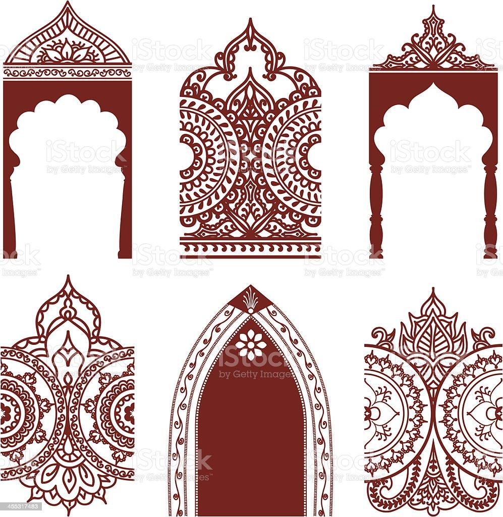 Mehndi Arches And Borders stock vector art 455317483 | iStock