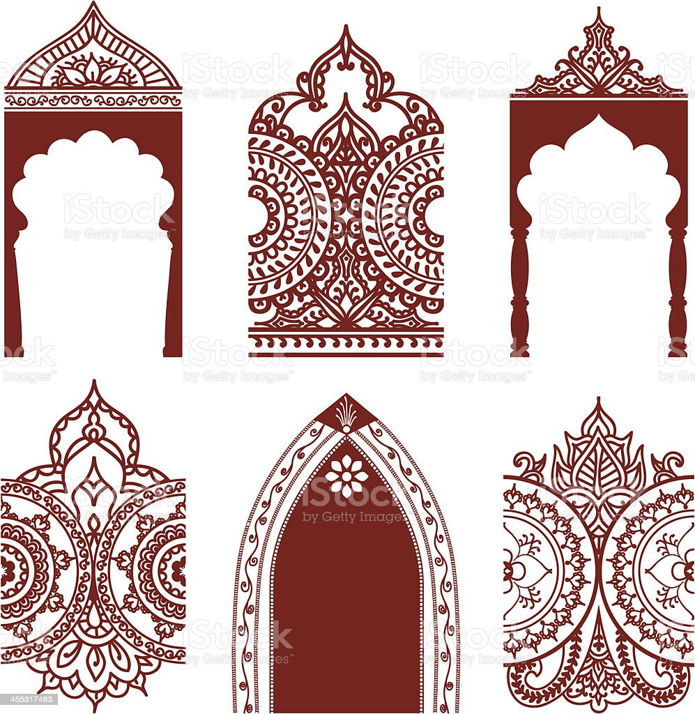 Mehndi Arches and Borders vector art illustration