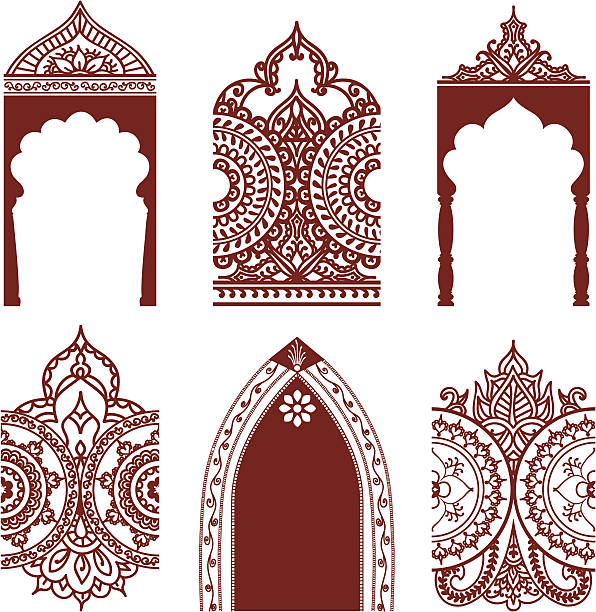 Mehndi Arches et bordures - Illustration vectorielle
