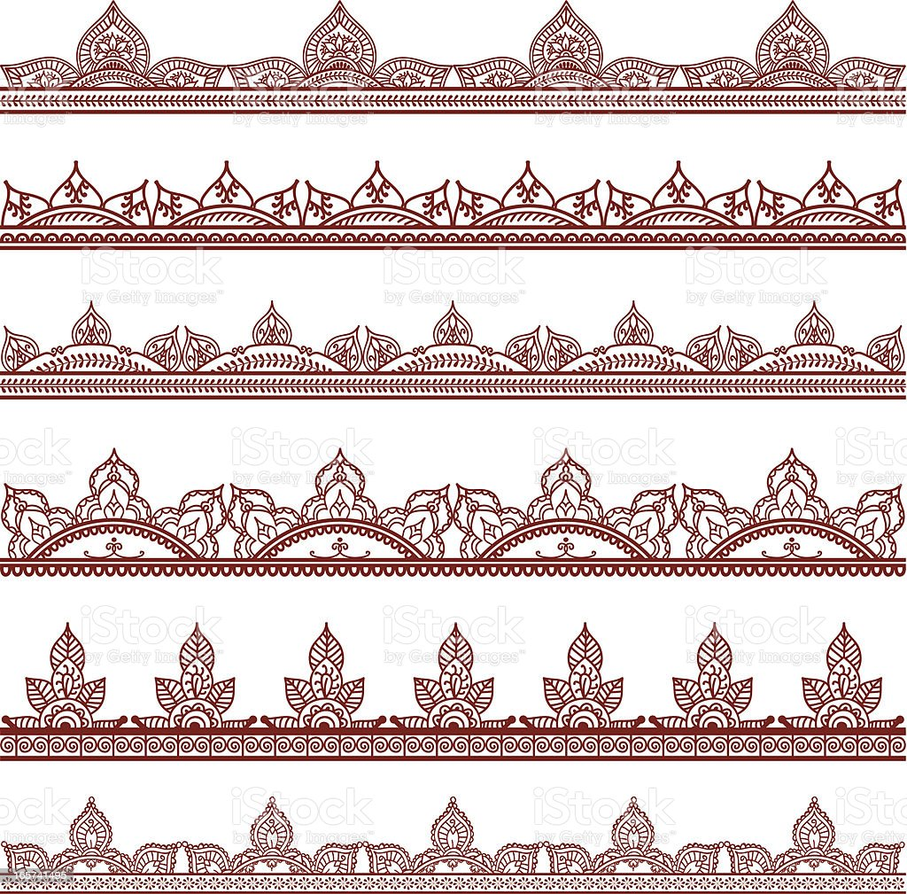 mehndi border designs stock vector art amp more images of