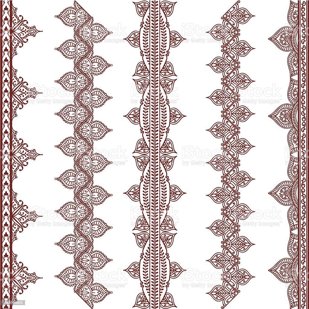 Mehndi Border Designs vector art illustration
