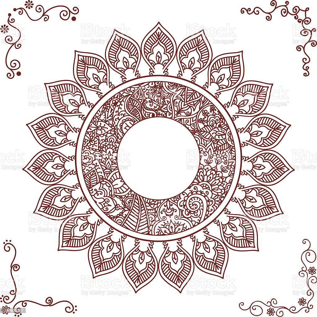 Mehndi Circle Vector : Mehndi circle frame stock vector art more images of