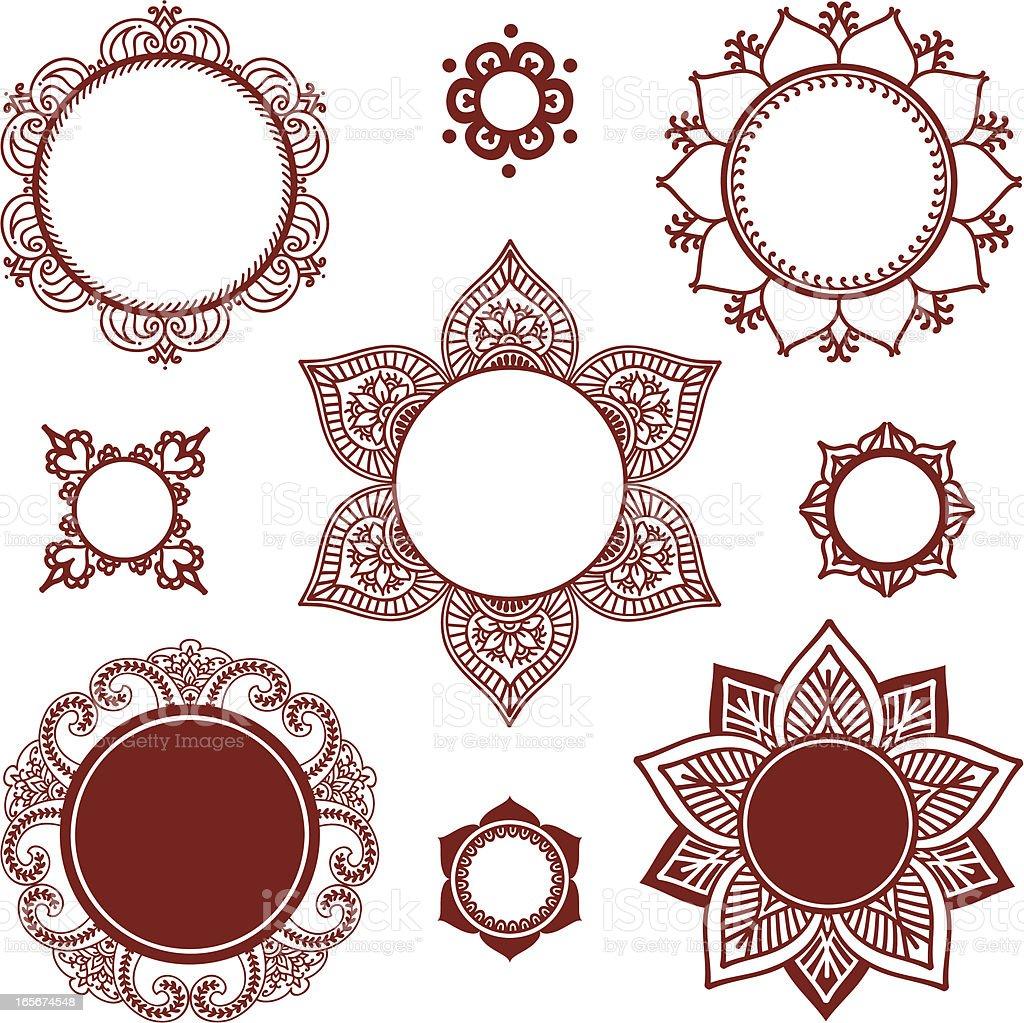 mehndi circle frames stock vector art more images of circle rh istockphoto com Henna Flower Vector Henna Flowers
