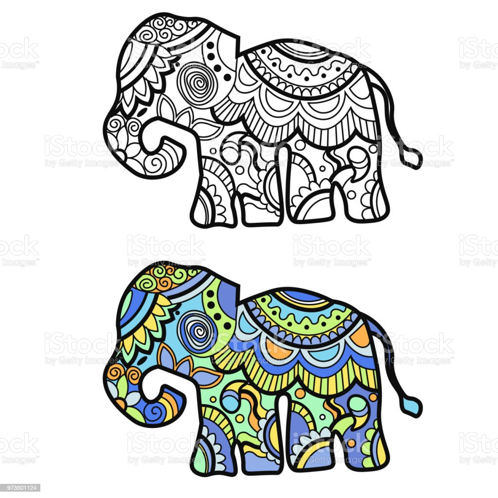 Mehndi Colored Traditional Indian Ethnic Symbol With Elephant Good For Henna Design Fabric