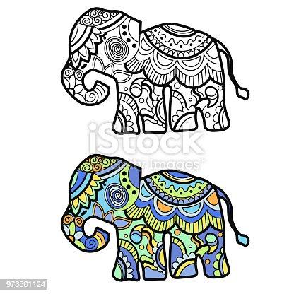 Ilustración de Mehndi Color Símbolo étnico Indio Tradicional Con ...