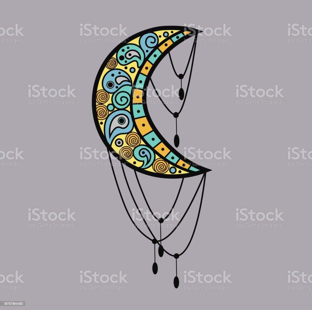 Mehndi farbigen traditionellen indischen ethnischen Symbol mit Mond. Gut für Henna-Design, Stoff, Textil, T-shirt Print oder Poster. - Lizenzfrei Abstrakt Vektorgrafik