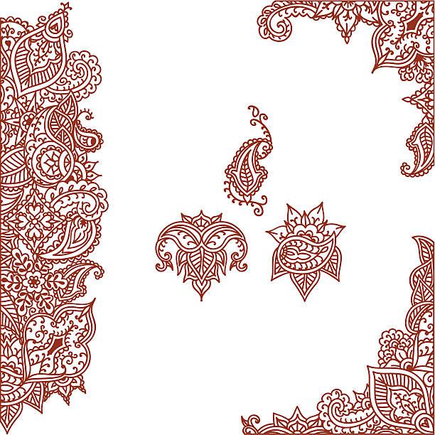 stockillustraties, clipart, cartoons en iconen met mehndi corner and border designs (vector) - hennatatoeage