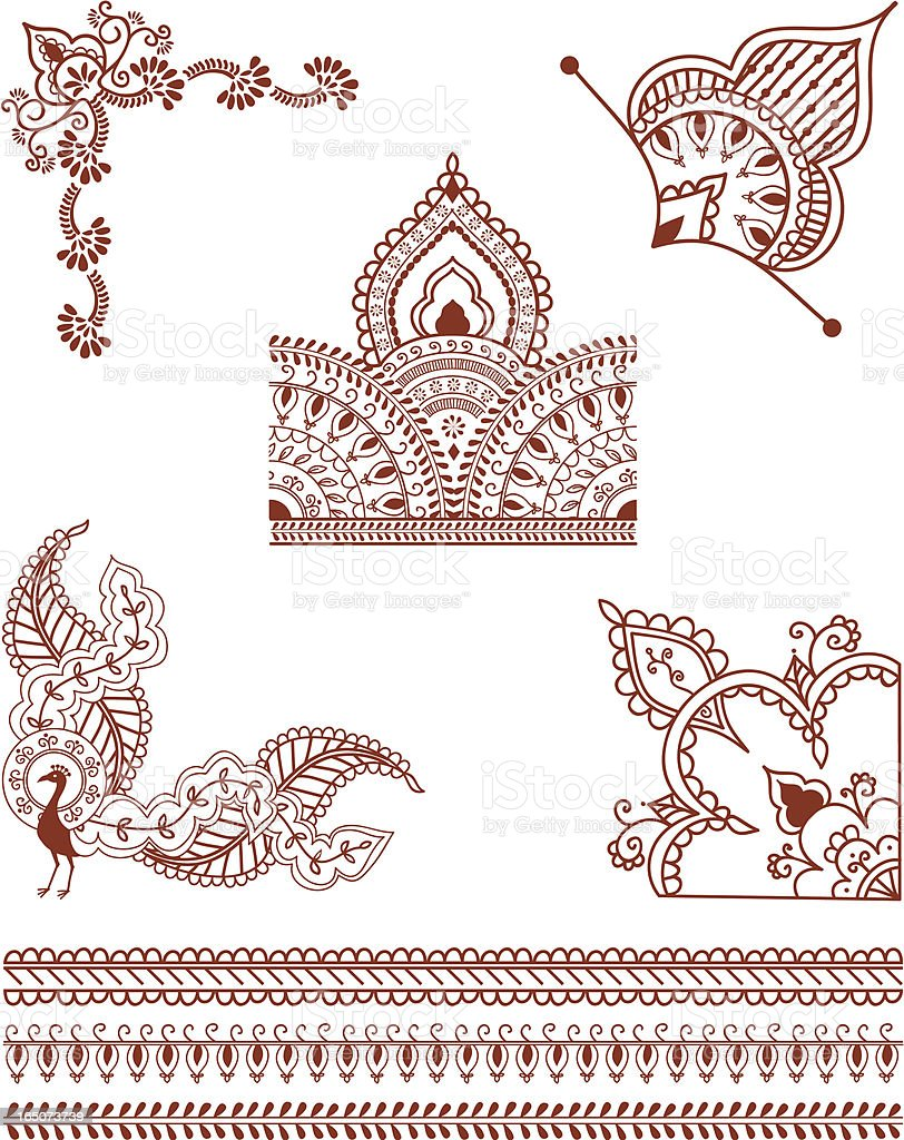 Mehndi Corner Designs (Vector) royalty-free stock vector art