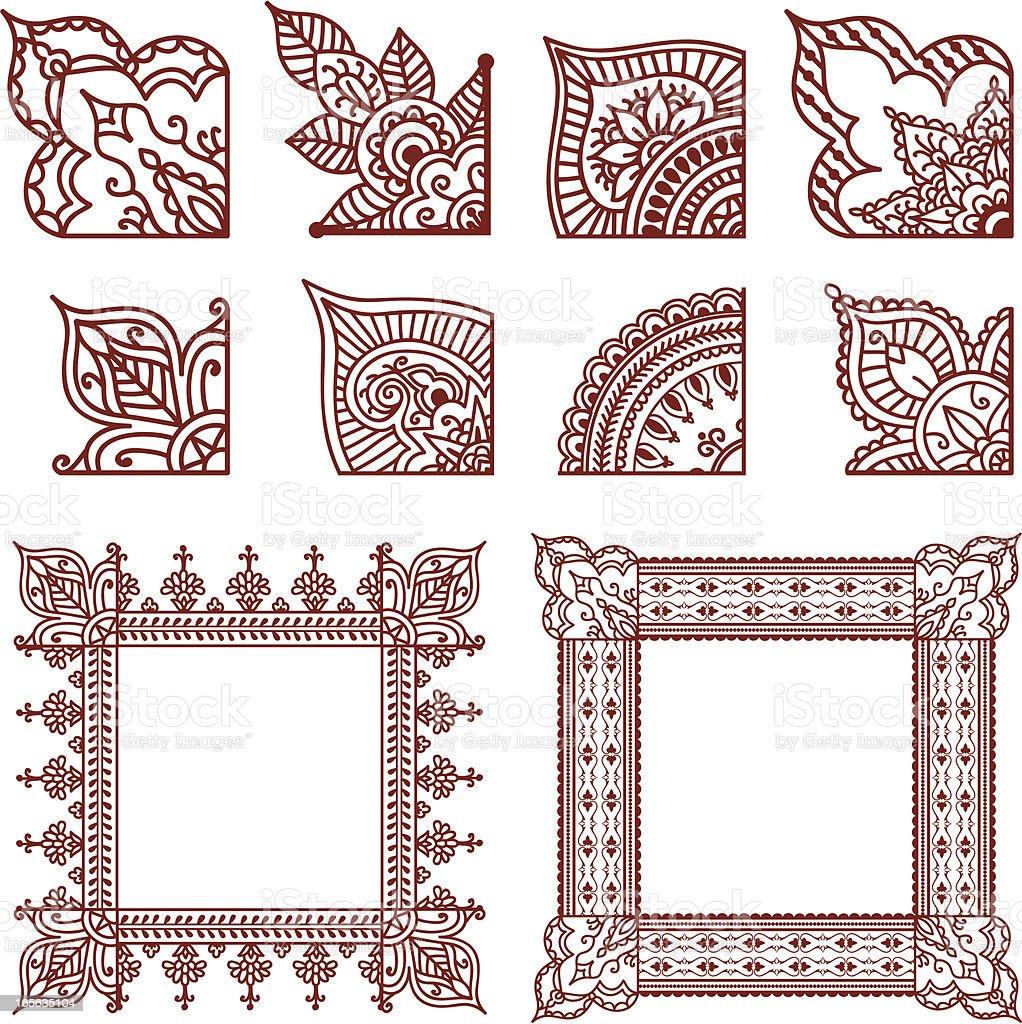 Mehndi Corner Designs vector art illustration
