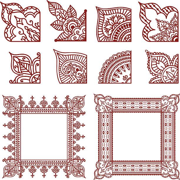 stockillustraties, clipart, cartoons en iconen met mehndi corner designs - hennatatoeage