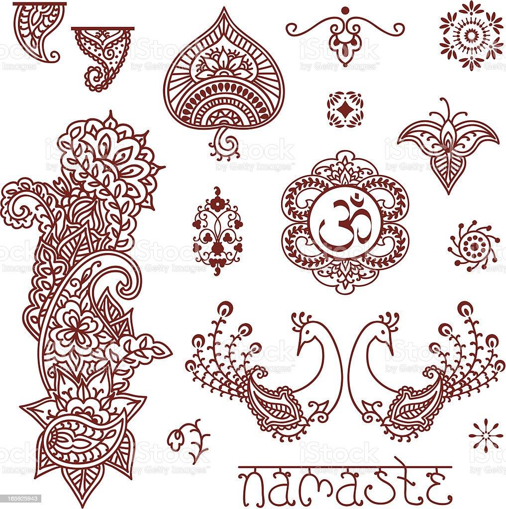 Mehndi Design Elements vector art illustration