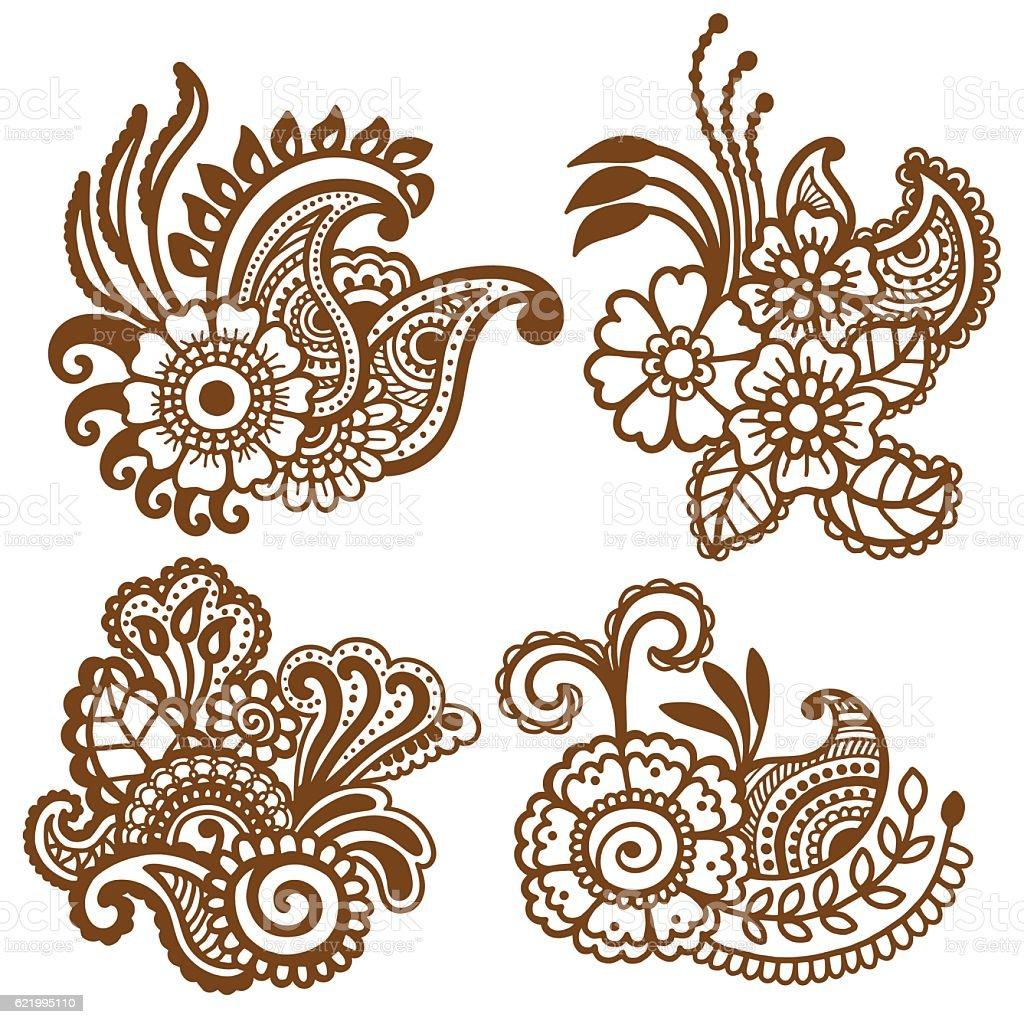 Mehndi Patterns Vector : Mehndi design patterns stock vector art istock
