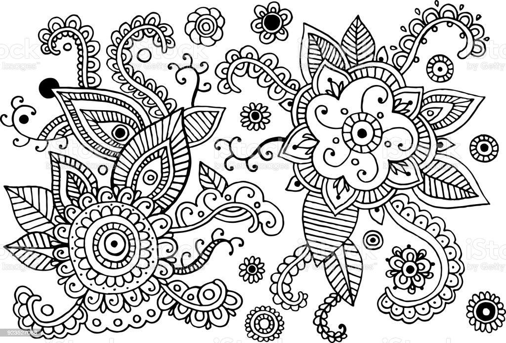 Ilustración de Mehndi Doodle Conjunto De Elementos Colección Gráfica ...