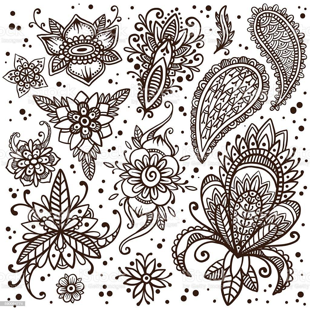 Mehndi elements vector set