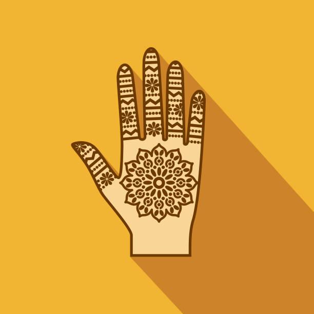 stockillustraties, clipart, cartoons en iconen met mehndi flat design india pictogram met kant schaduw - hennatatoeage