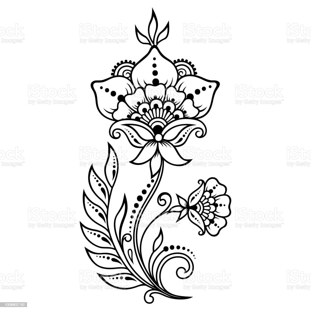 Mehndi Flower Pattern For Henna Drawing And Tattoo Decoration In