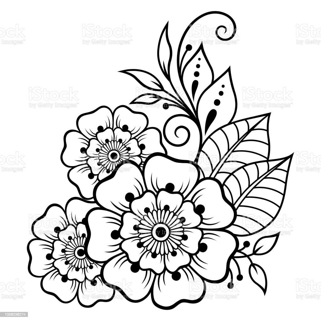 Vetores De Mehndi Flor Padrao Para Desenho De Henna E Tatuagem